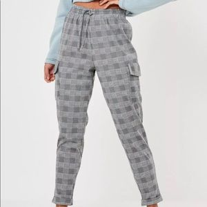 Gray Plaid Cargo pants
